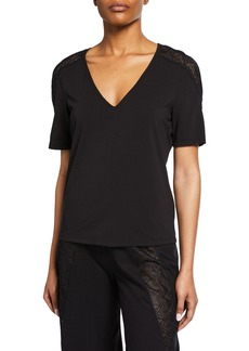 Cosabella Ferrara Lace-Inset Short-Sleeve Lounge Shirt
