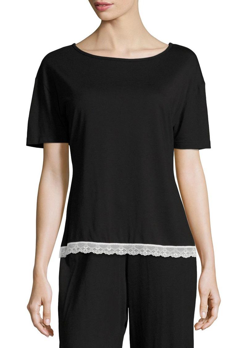 Cosabella Majestic Lace-Trim Lounge Top  Black/White
