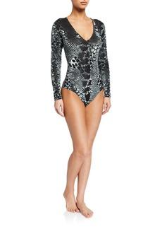 Cosabella Spotlight Printed Long-Sleeve Bodysuit