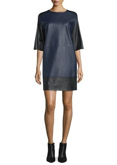 CoSTUME NATIONAL Half-Sleeve Leather Shift Dress