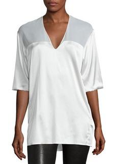 Costume National Half-Sleeve V-Neck Top