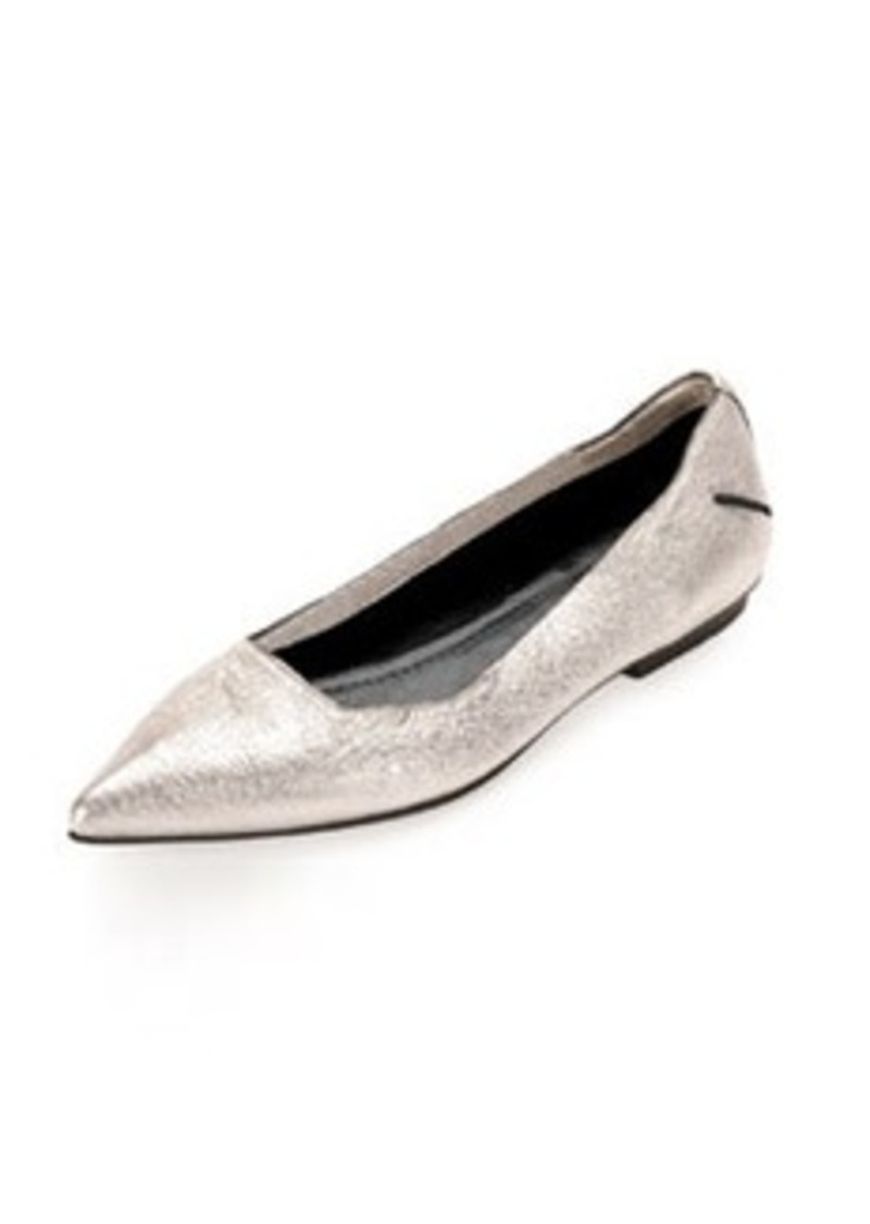 CoSTUME NATIONAL Metallic Point-Toe Ballerina Flat, Silver