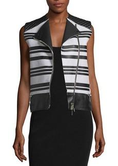 CoSTUME NATIONAL Sleeveless Asymmetric-Zip Leather Waistcoat
