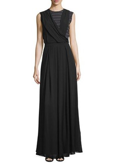 CoSTUME NATIONAL Sleeveless Draped-Bodice Maxi Dress