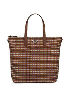Prada Women's Plaid Tote Bag - Brown