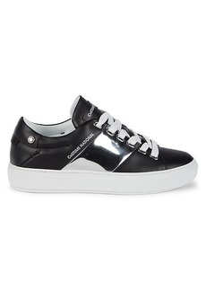 Costume National Low-Top Leather & Metallic Sneakers