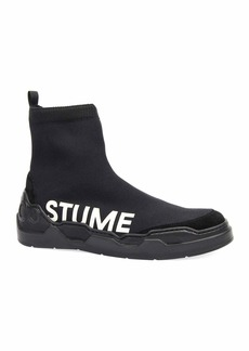 Costume National Men's Knit Sock Sneakers with Logo Print
