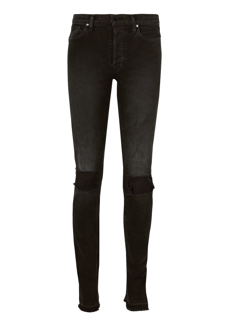 Cotton Citizen High Split Distressed Skinny Black Jeans