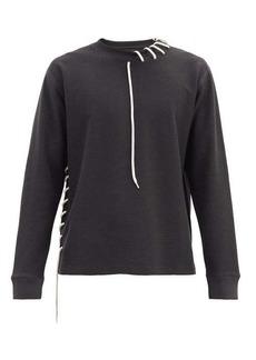 Craig Green Laced cotton-blend jersey sweatshirt