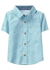 Crazy 8 Boys' Toddler Short Sleeve Woven Button Down Tee Light Blue dot Print