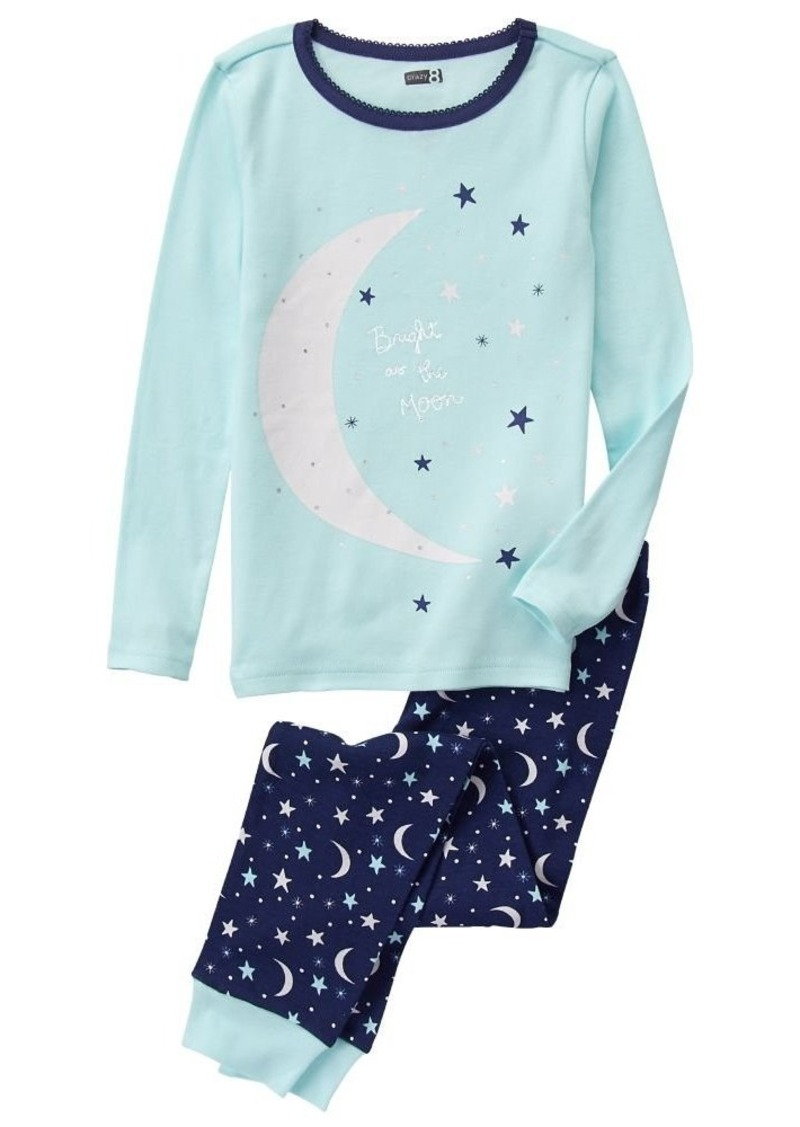 Crazy 8 Girls' Big Girls' Long-Sleeve Long-Bottom Tight-Fit Pajama Set Moon/Blue