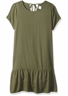 Crazy 8 Girls' Big Short Sleeve Casual Woven Dress Olive tie/Back XL