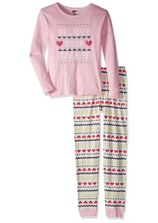 Crazy 8 Girls' Little 2-Piece Long Sleeve Tight Fit Pajama Set