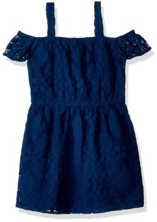 Crazy 8 Girls' Little Sleeveless Off The Shoulder Woven Dress Navy lace L