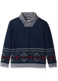 Crazy 8 Boys' Little Long Sleeve Shawl Collar Aztec Print Sweater Navy S