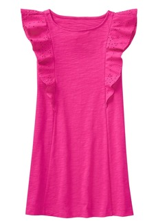 Crazy 8 Little Girls' Flutter Sleeve Knit Eyelet Dress  XL