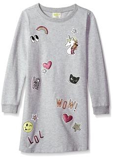 Crazy 8 Little Girls' Long Sleeve Emoji Sweater Dress Heather Grey XS