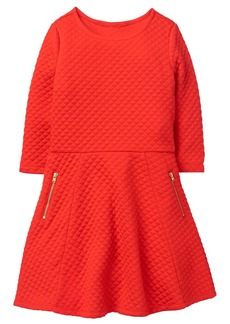 Crazy 8 Girls' Little Long Sleeve Quilted Fit and Flare Dress Poppy red XL