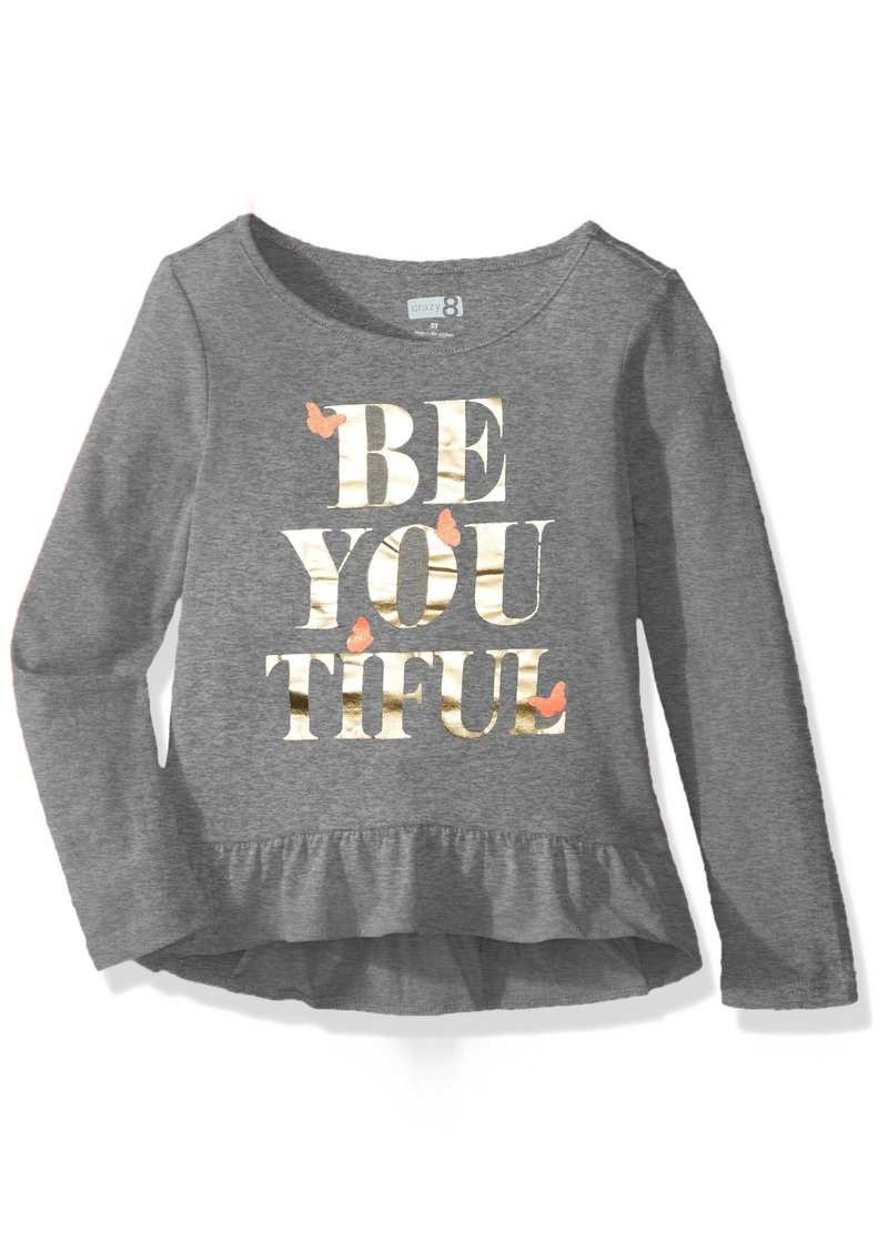 e0ca2346fe92 Crazy 8 Crazy 8 Toddler Girls' Long-Sleeve Ruffle Graphic Tee T ...