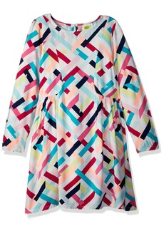 Crazy 8 Crazy  Girls' Little Long Sleeve Geo Print Woven Dress Multi Geometric