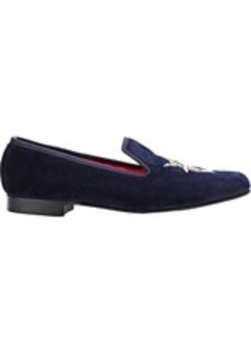 Crockett & Jones Men's Velvet Shark-Embroidered Slippers