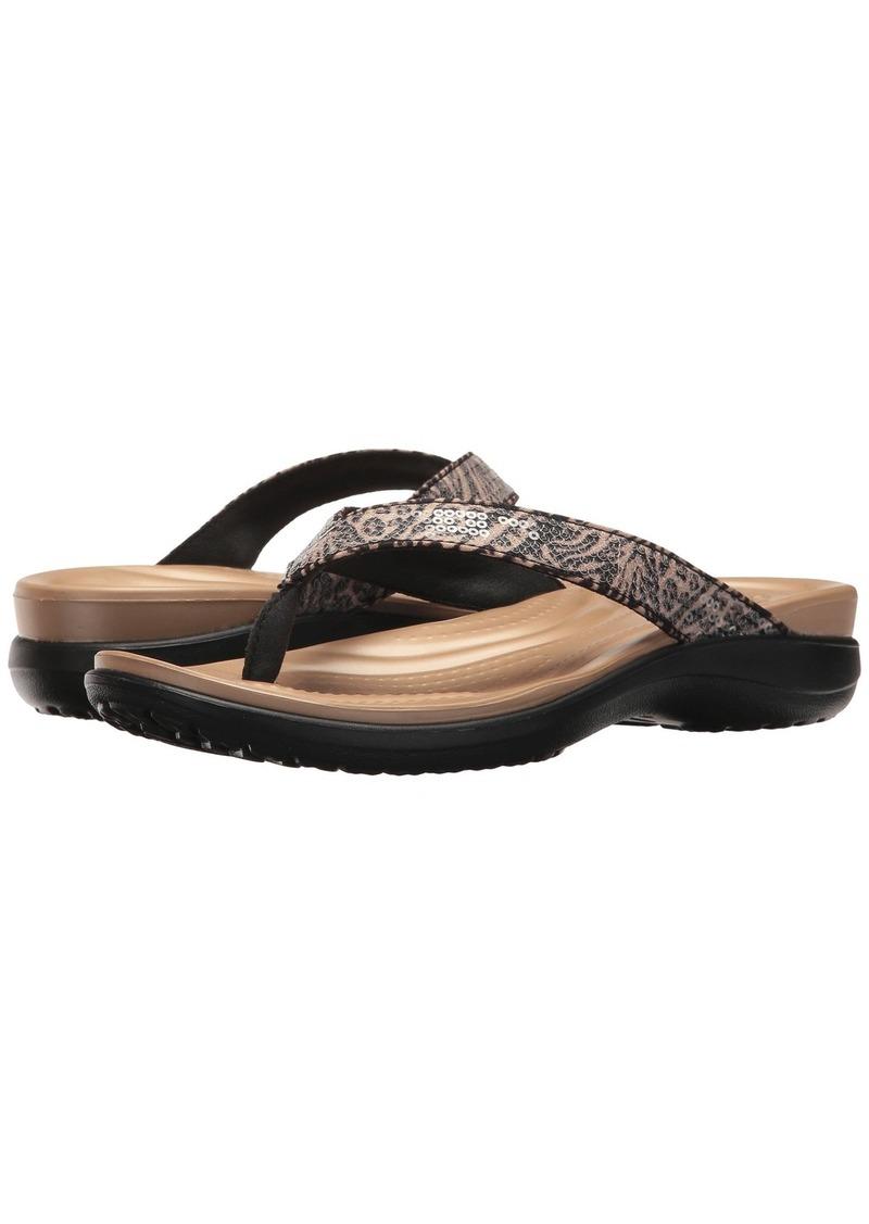 77492ef03 SALE! Crocs Capri V Graphic Sequin Flip