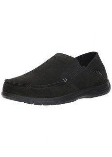Crocs Men's Santa Cruz Convertible Leather Slip-On Loafer Flat Black 12