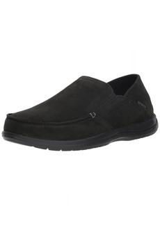 Crocs Men's Santa Cruz Convertible Leather Slip-On Loafer Flat black/black