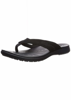 Crocs Men's Santa Cruz Leather Flip Flop Black  M US