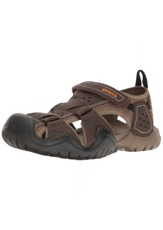 Crocs Men's Swiftwater Leather Fisherman Sandal  8 M US