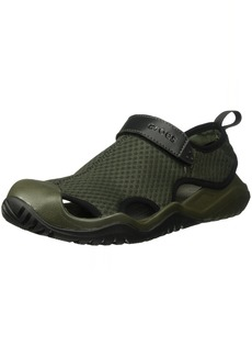 Crocs Men's Swiftwater Mesh Deck Sandal Sport Dark camo Green/Black