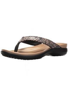 crocs Women's Capri V Graphic Sequin Flip W Flop animal  M US