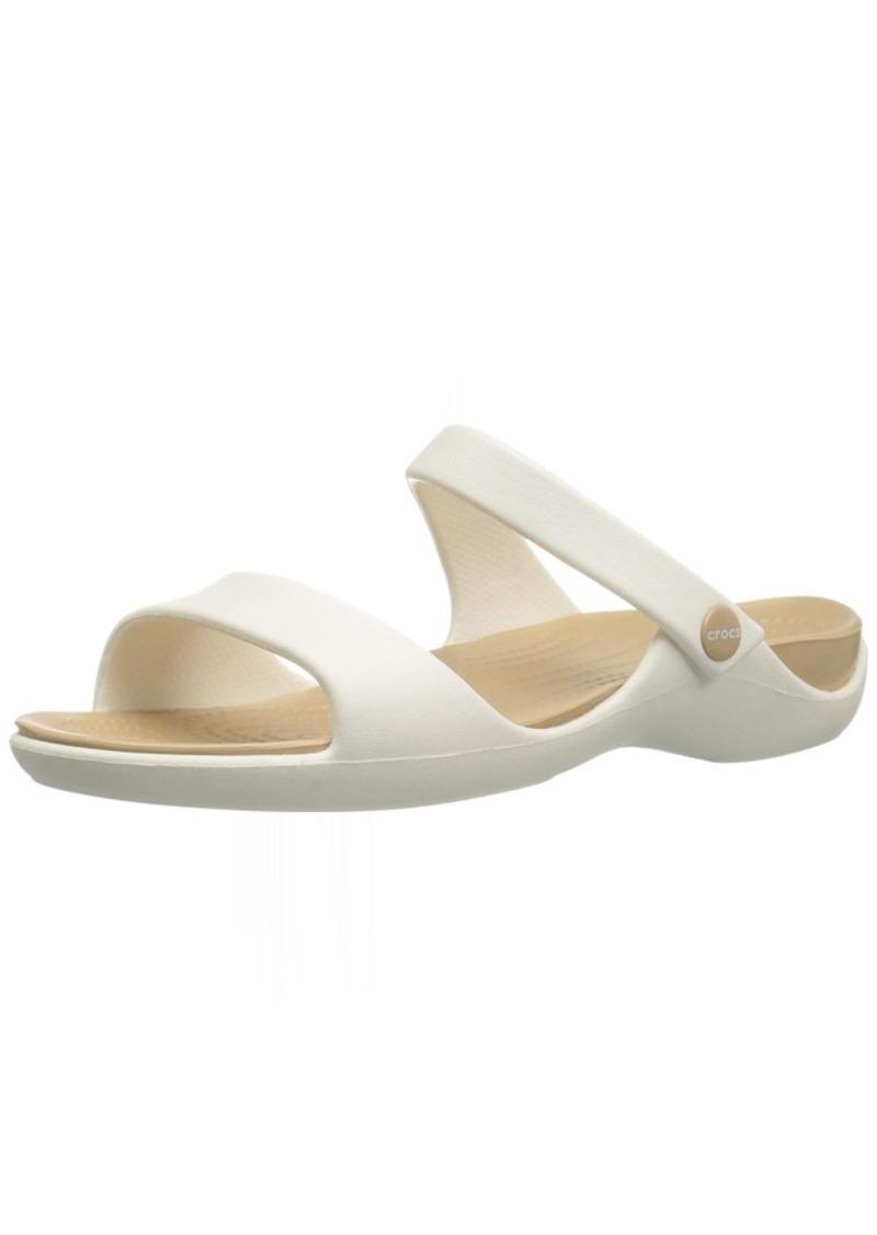 crocs Women's Cleo V Flat Sandal   M US