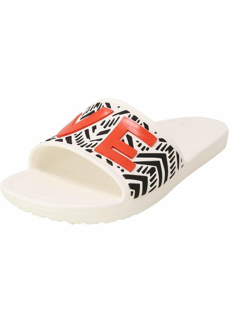 Crocs Women's Drew Barrymore Sloane Chevron Slide Flat Sandal   M US