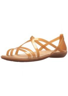 crocs Women's Isabella Cut Strappy Sandal W Flat Dark Gold  M US