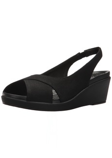 Crocs Women's Leigh Ann Slingback Wedge Sandal Black  M US