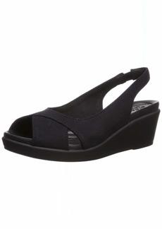 Crocs Women's Leigh Ann Slingback Wedge Sandal black/black  M US