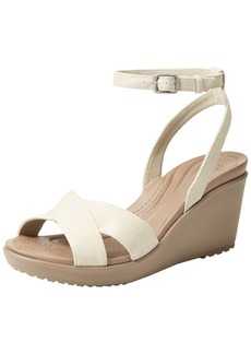 Crocs Women's Leigh II Cross-Strap Ankle Wedge Sandal oatmeal/mushroom  M US