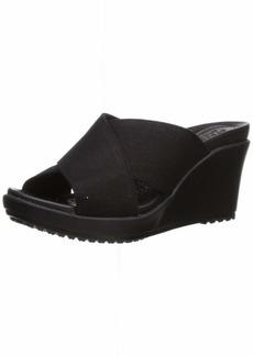 Crocs Women's Leigh II Cross-Strap Wedge Sandal Black