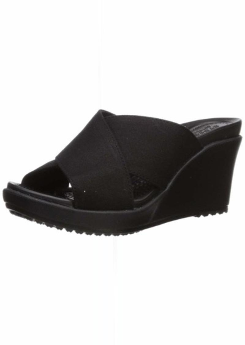 Crocs Women's Leigh II Cross-Strap Wedge Sandal Black  M US