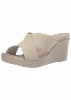 Crocs Women's Leigh II Cross-Strap Wedge Sandal oyster/cobblestone  M US