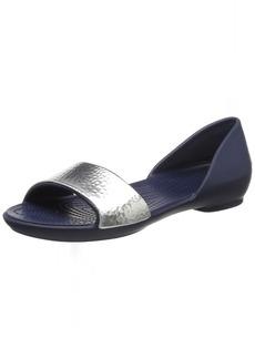 crocs Women's Lina Embellished Dorsay Flat Sandal   M US