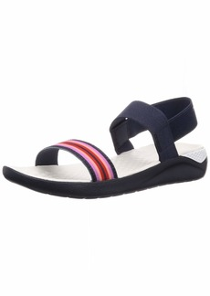 Crocs Women's LiteRide Sandal Flat navy color block/navy  M US