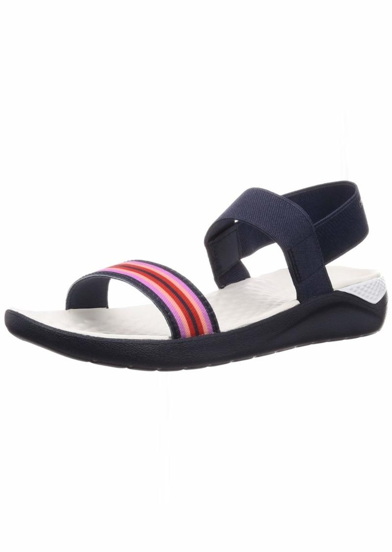 Crocs Women's LiteRide Sandal Flat navy color block/navy  M US