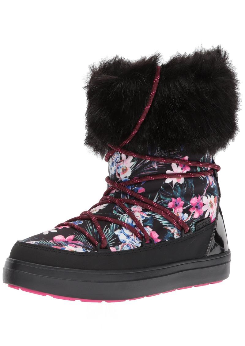 crocs Women's LodgePoint Graphic Lace Boot W Snow   M US
