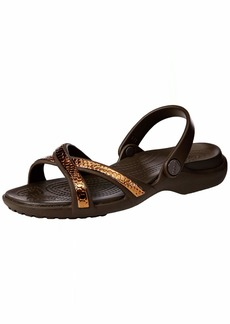 Crocs Women's Meleen MetalText XBand Sandal Slide bronze/espresso  M US