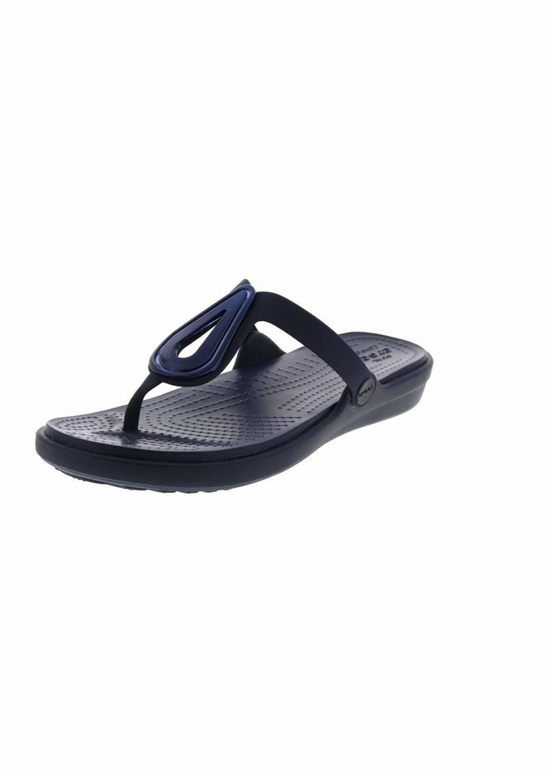 Crocs Women's Sanrah Beveled Flat Flip Sandal   M US