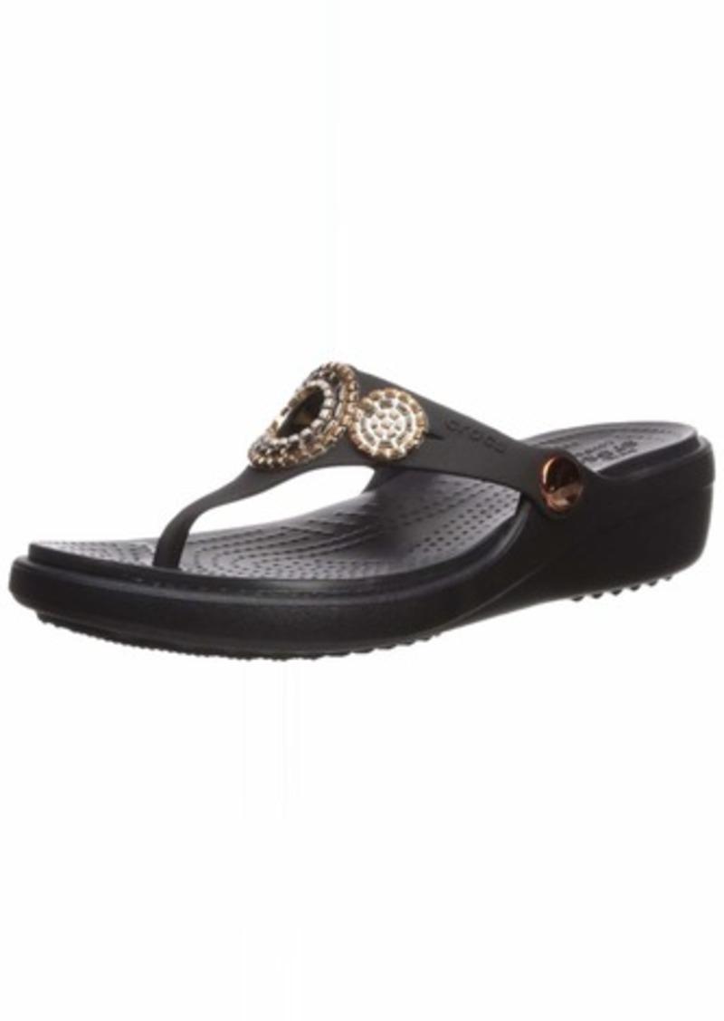 Crocs Women's Sanrah Diamante Wedge Flip Flop   M US