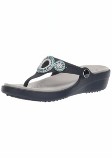 Crocs Women's Sanrah Diamante Wedge Flip Flop Sandal navy/turquoise  M US