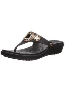 Crocs Women's Sanrah Diamante Wedge Flip W Sandal